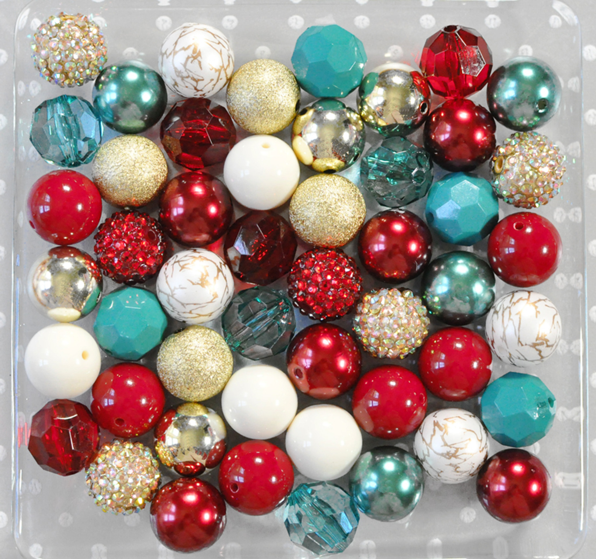 Christmas Past cranberry, teal, and gold bubblegum bead wholesale kit