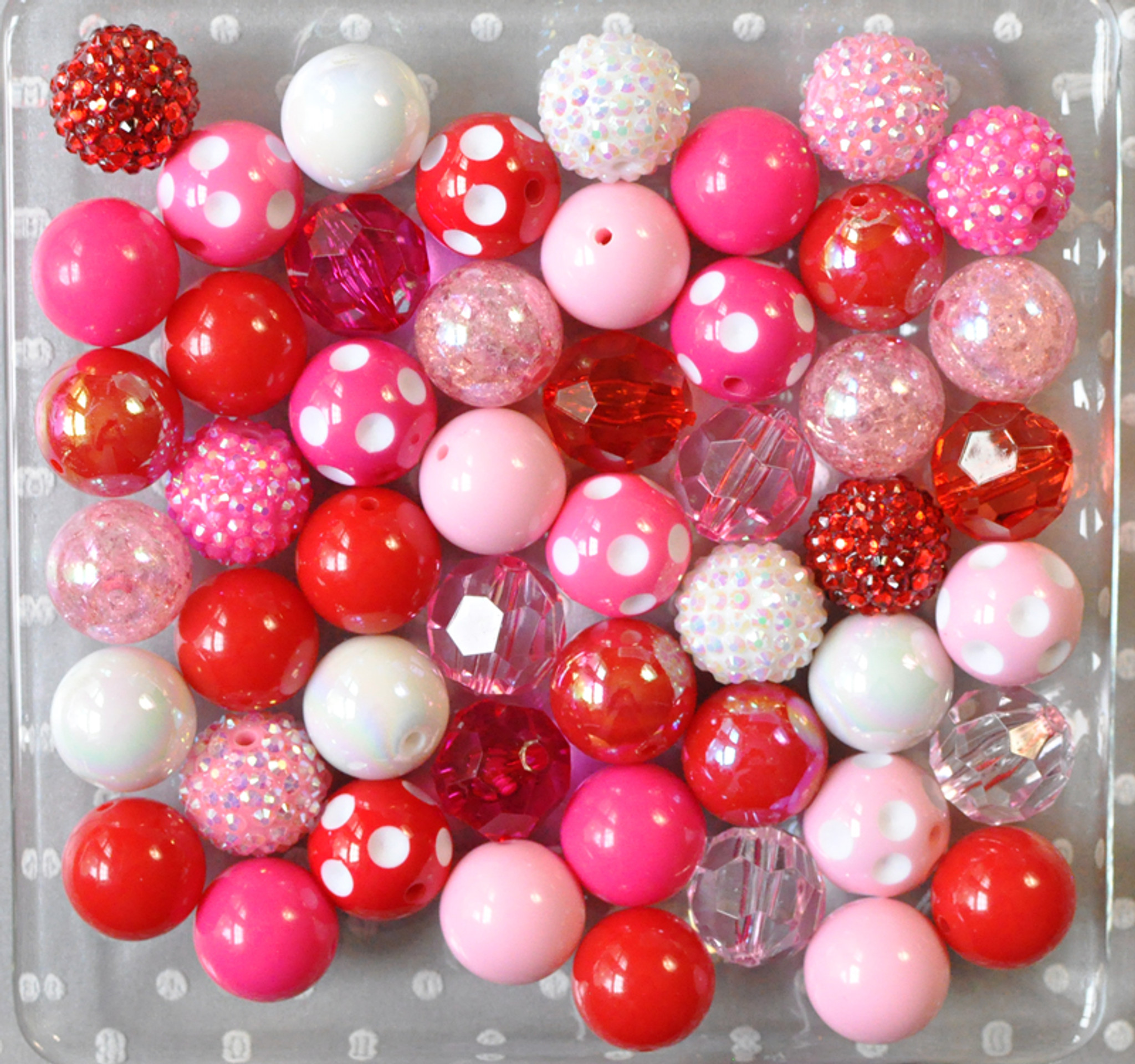 Valentine's Day Red pink and hot pink bubblegum bead wholesale kit