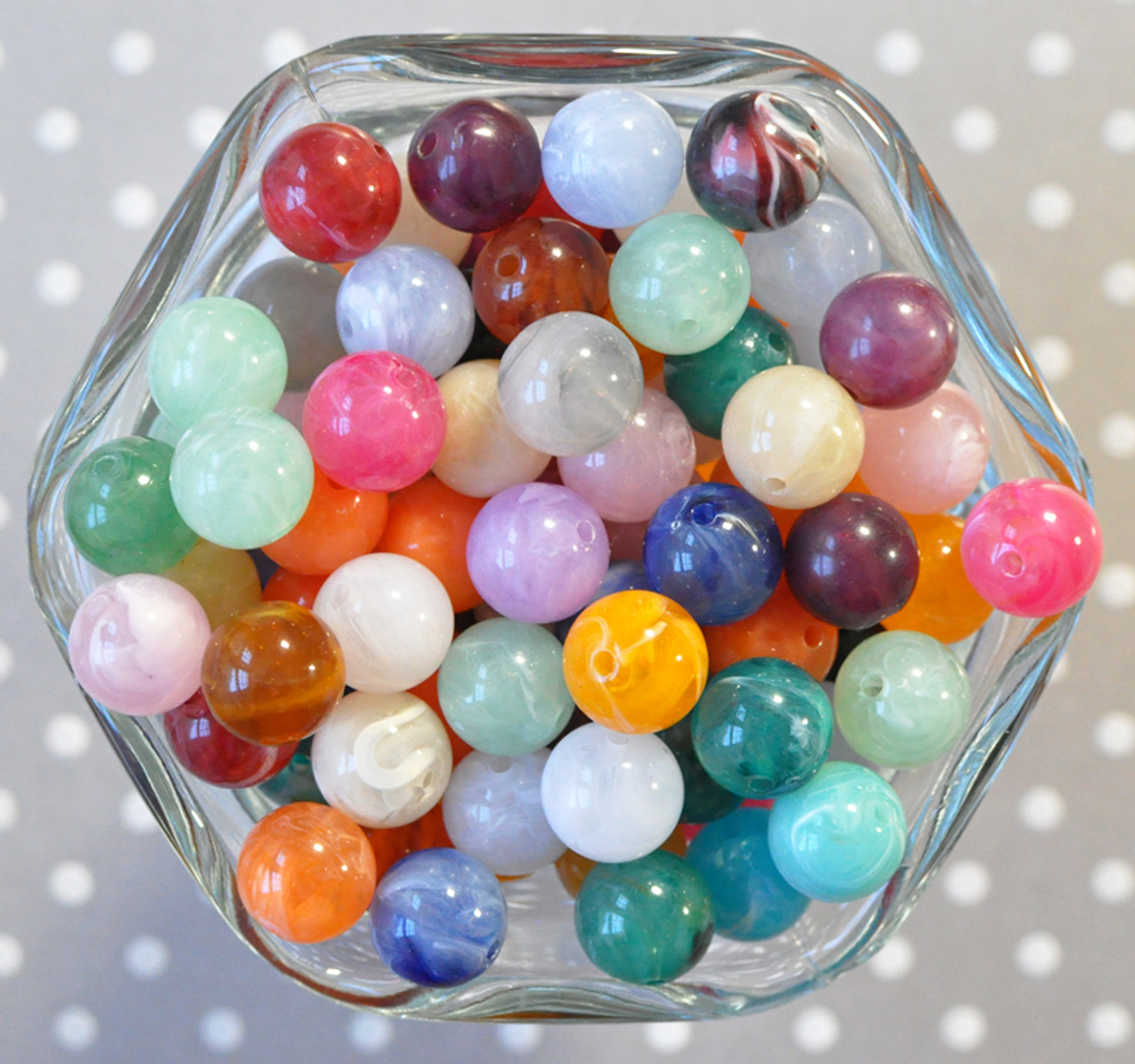 12mm Multi-color Marble swirl acrylic beads