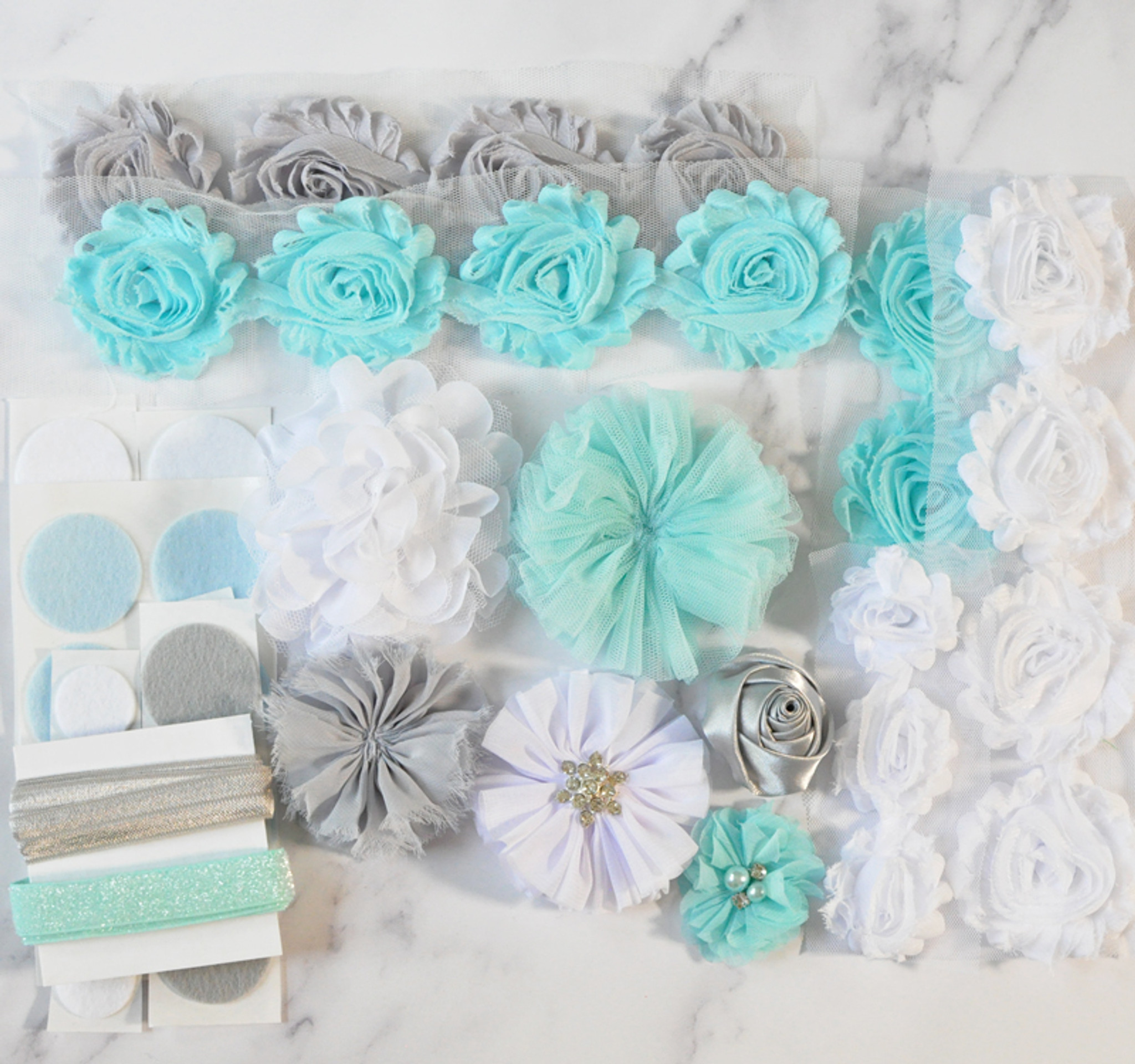 Icy Blue shabby flower headband kit