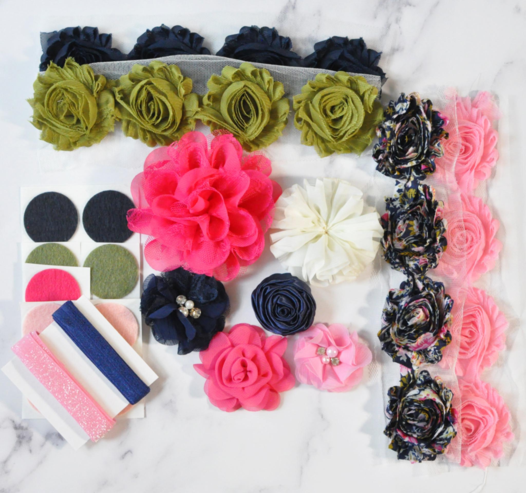 Navy and Pink shabby flower headband kit