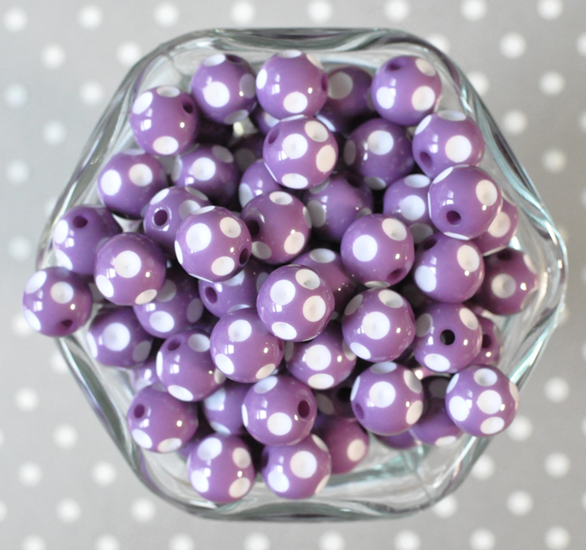 12mm Dark orchid purple polka dot bubblegum beads