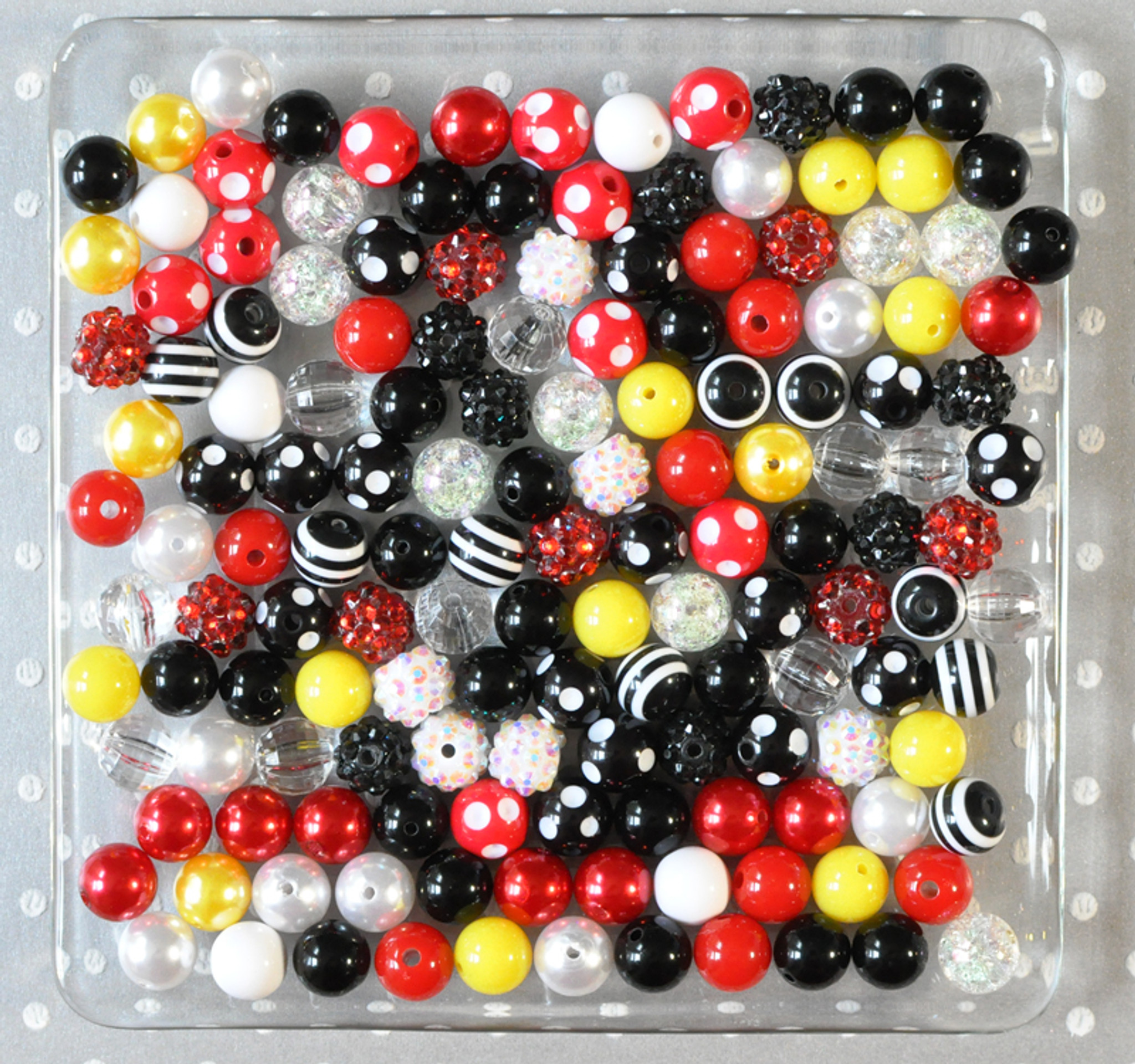 12mm Red, black, yellow bubblegum bead mix