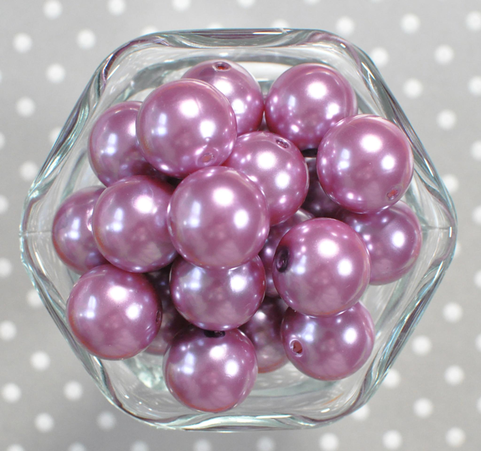 20mm Light Thistle purple pearl bubblegum beads