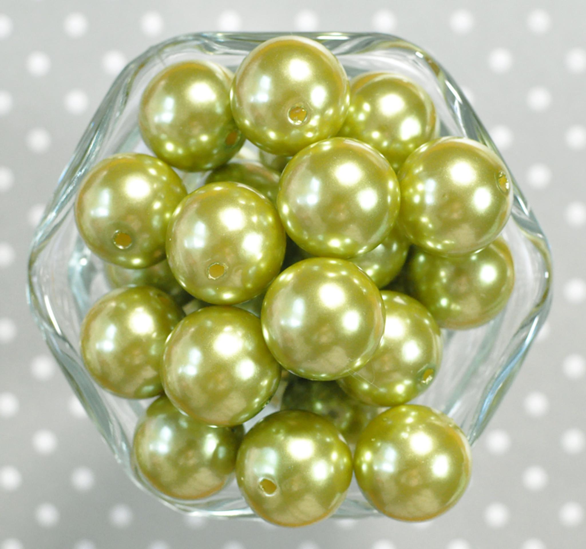 20mm Light Olive green pearl bubblegum beads