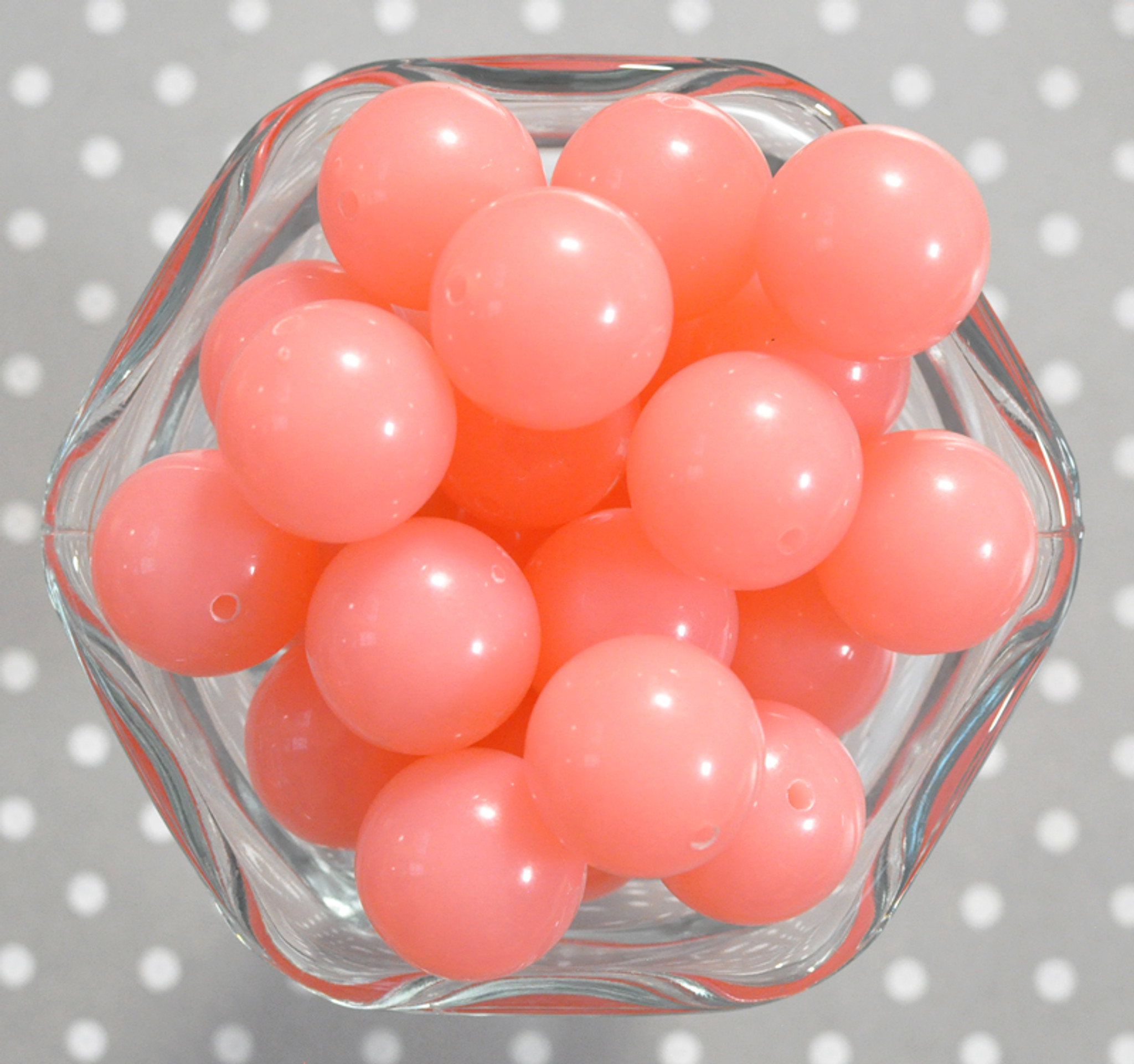 20mm Salmon coral solid bubblegum beads