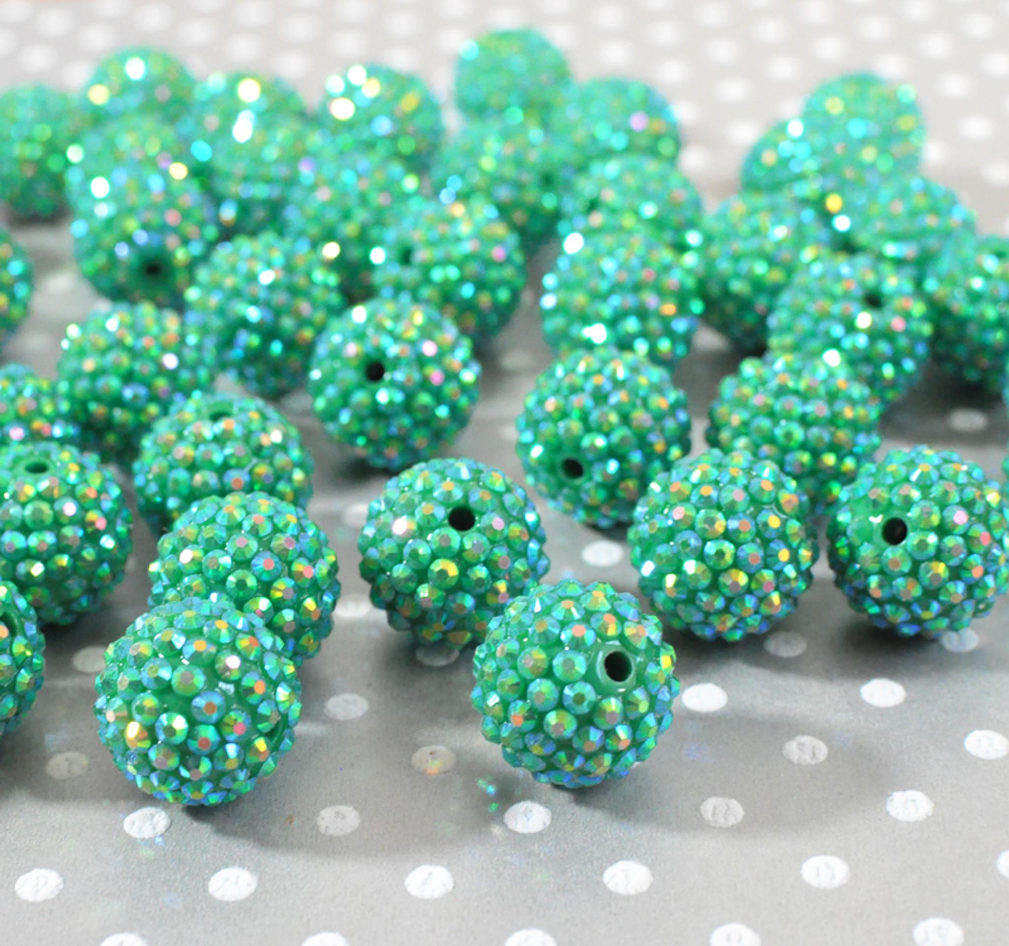20mm Green AB rhinestone bubblegum beads