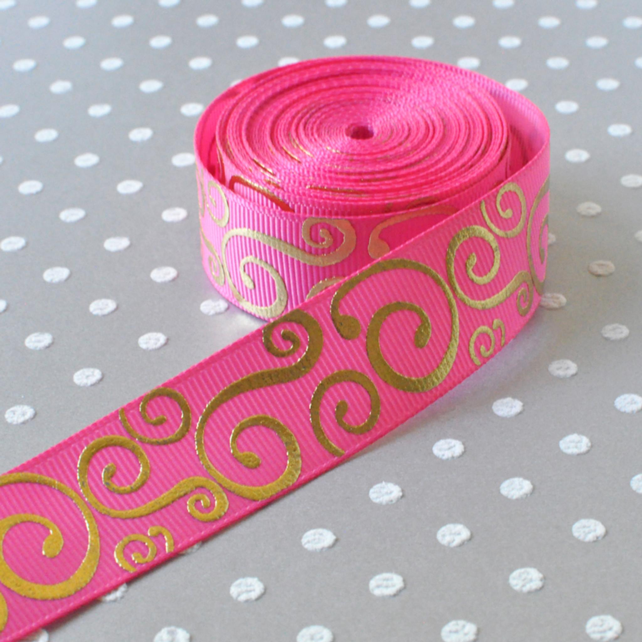 "1 yard Pink w// metallic gold polka dot print 7//8/"" grosgrain ribbon by the yard"