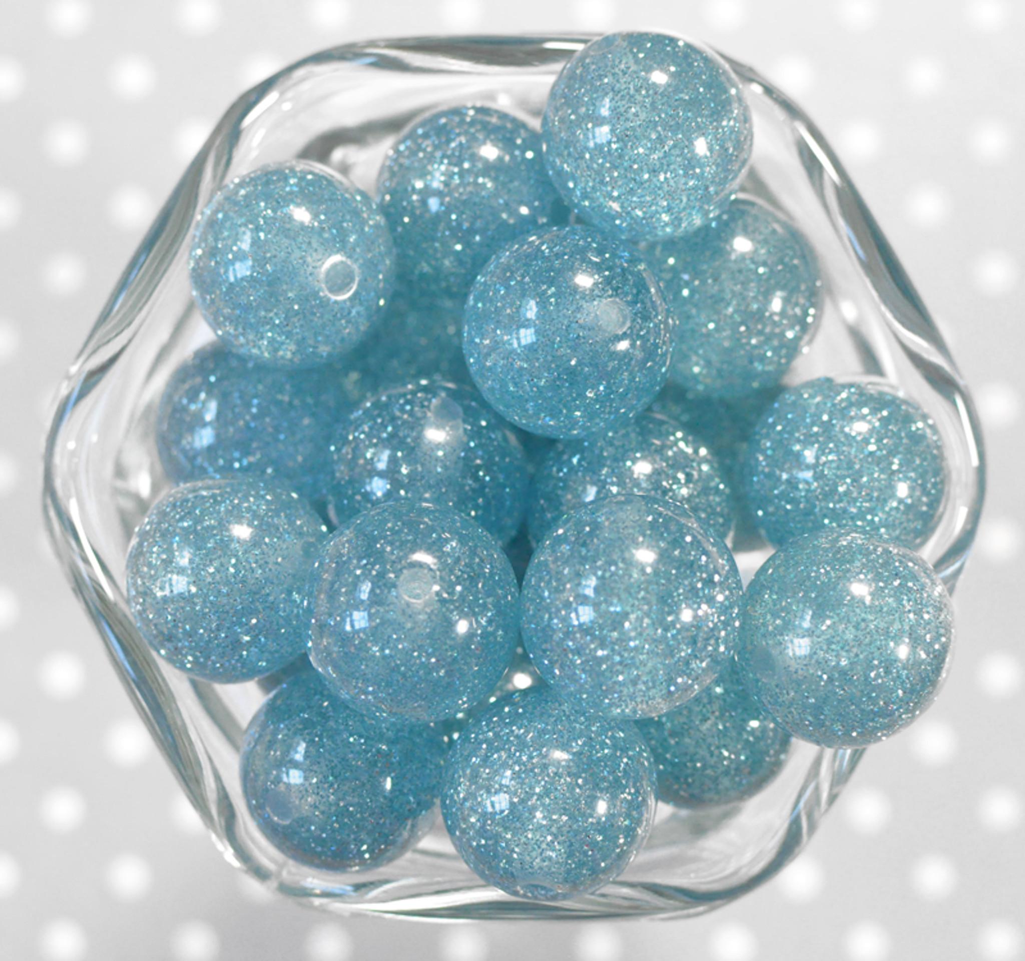 20mm Denim blue glitter jelly bubblegum beads
