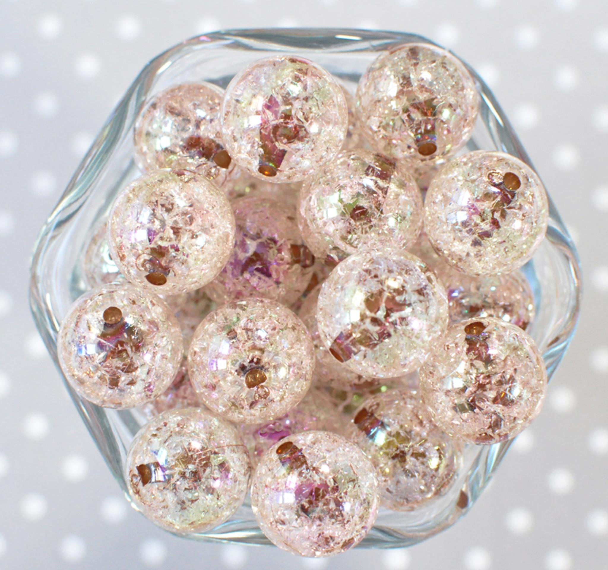 20mm Brown barrel AB crackle bubblegum beads