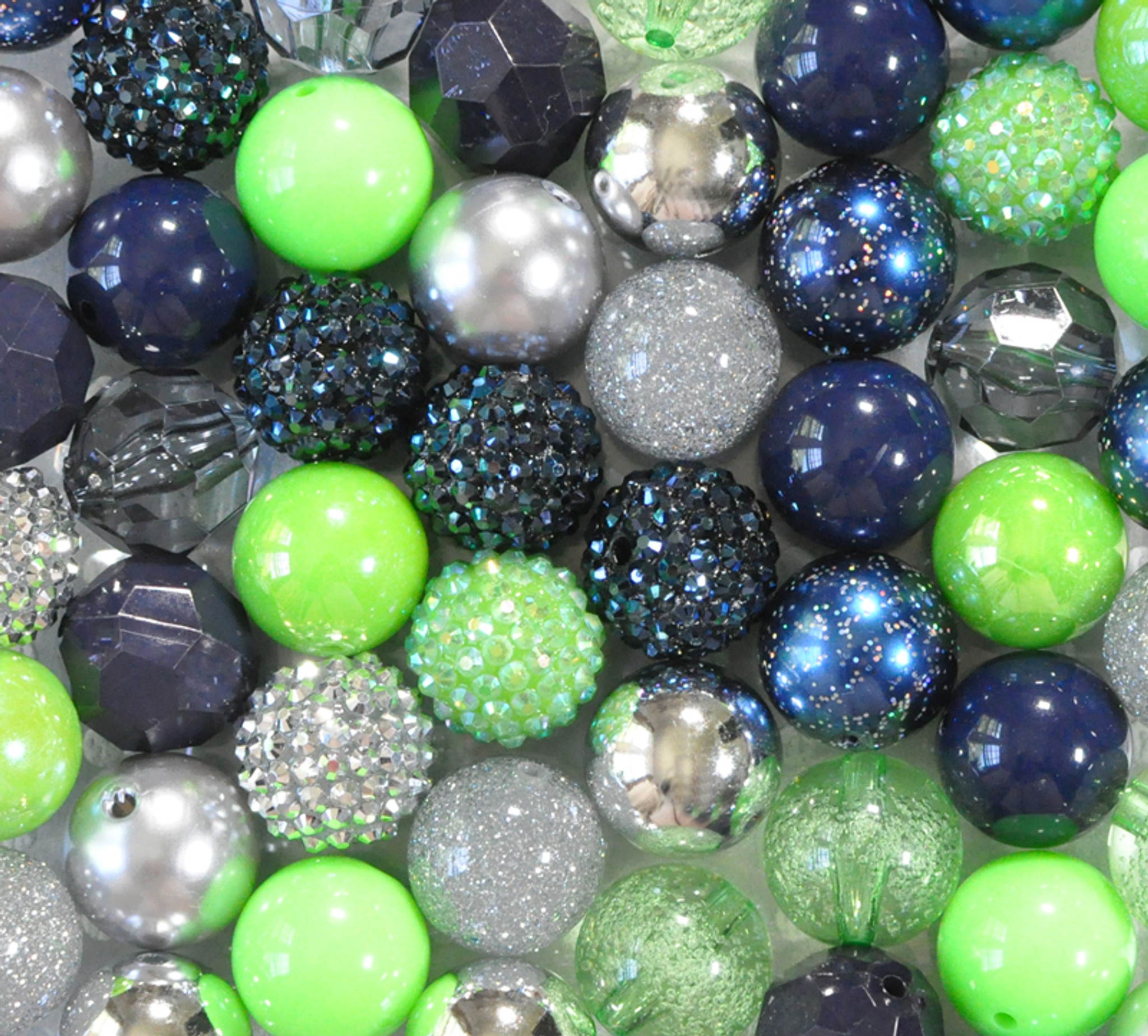 Navy, green, and silver bubblegum bead wholesale kit