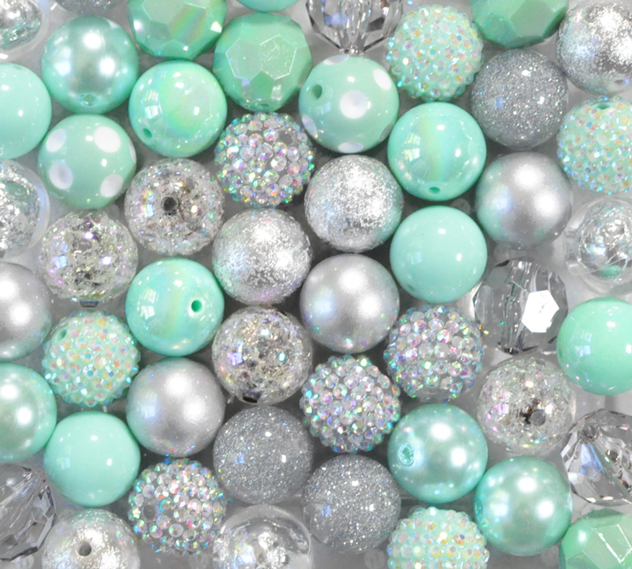 Mint green and silver bubblegum bead wholesale kit