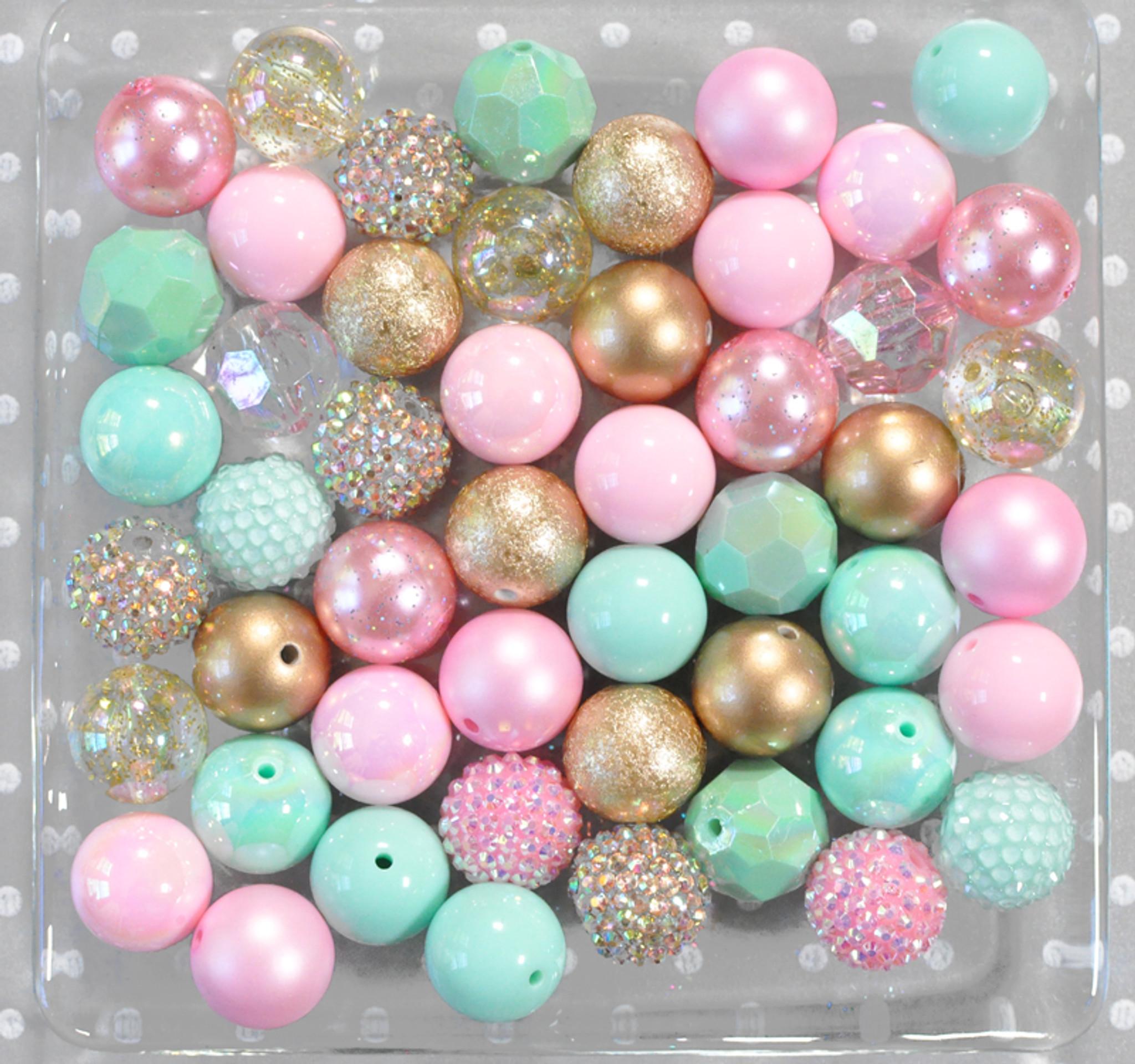Pink, mint, and gold bubblegum bead wholesale kit