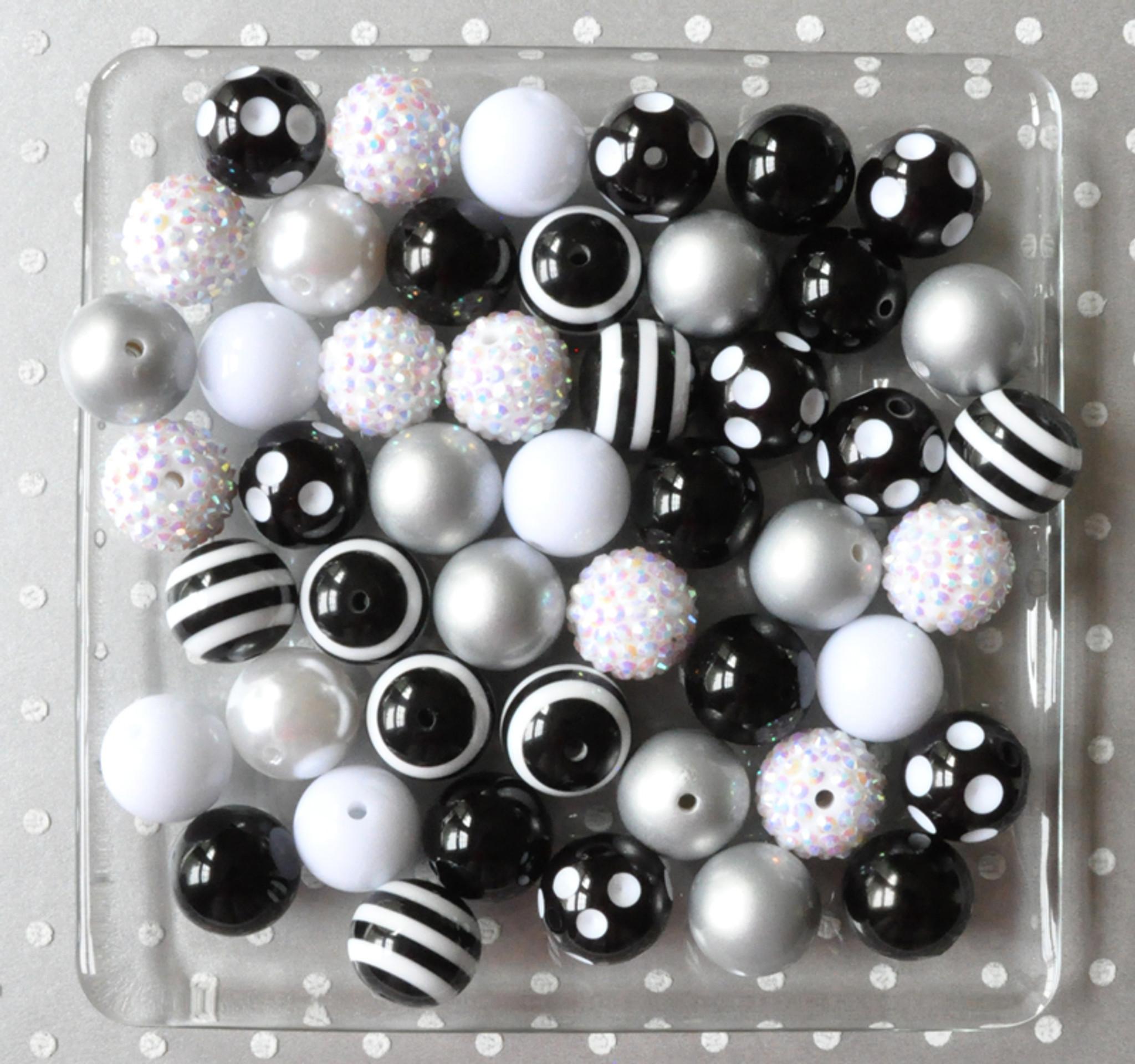 Black and white chunky bubblegum bead wholesale kit