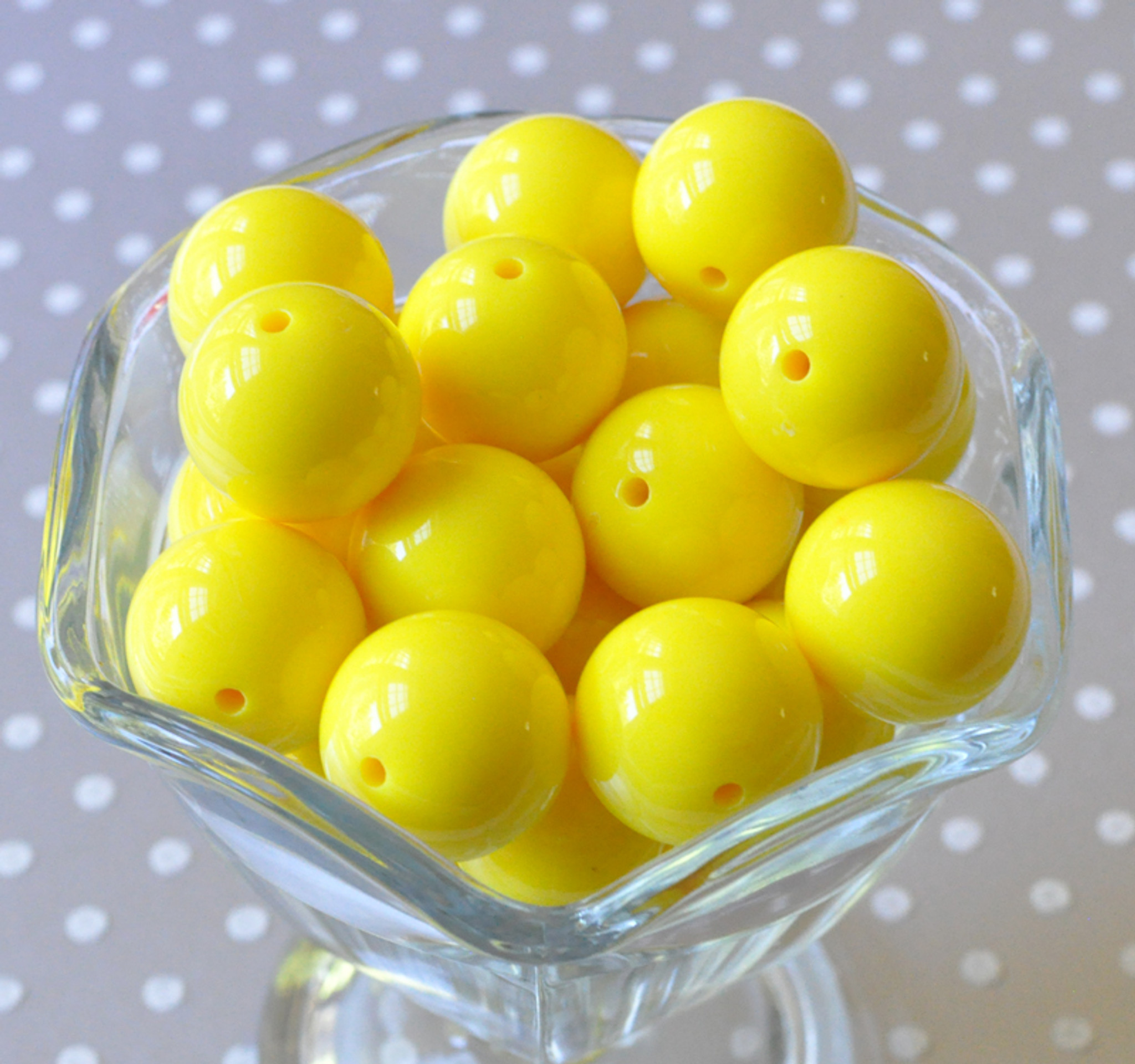 20mm Lemon yellow solid bubblegum beads wholesale