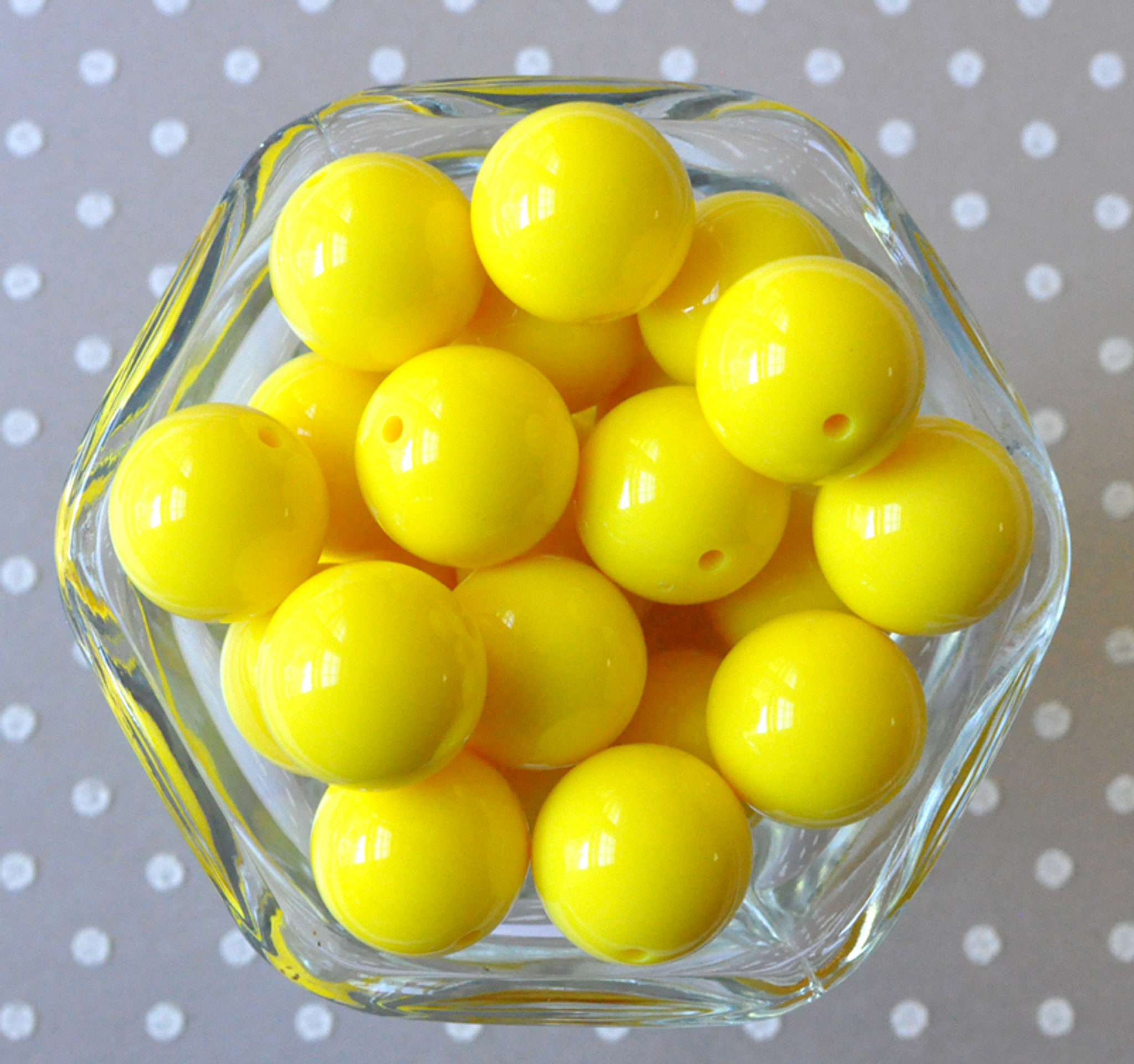 20mm Lemon yellow solid chunky bubblegum beads