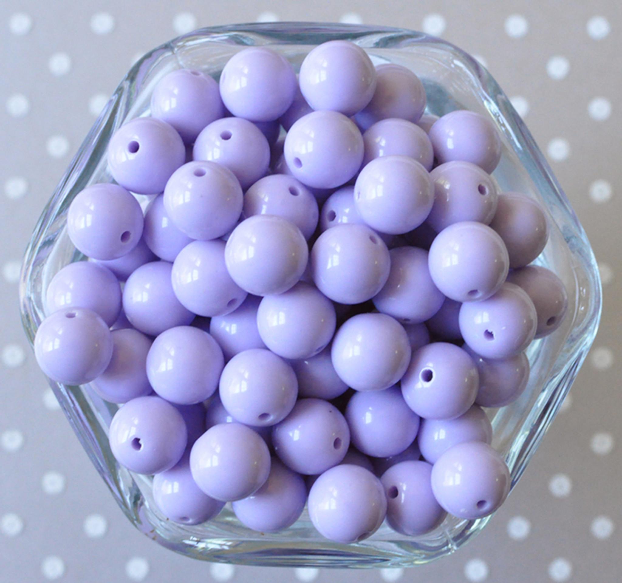 12mm Lavender solid bubblegum beads