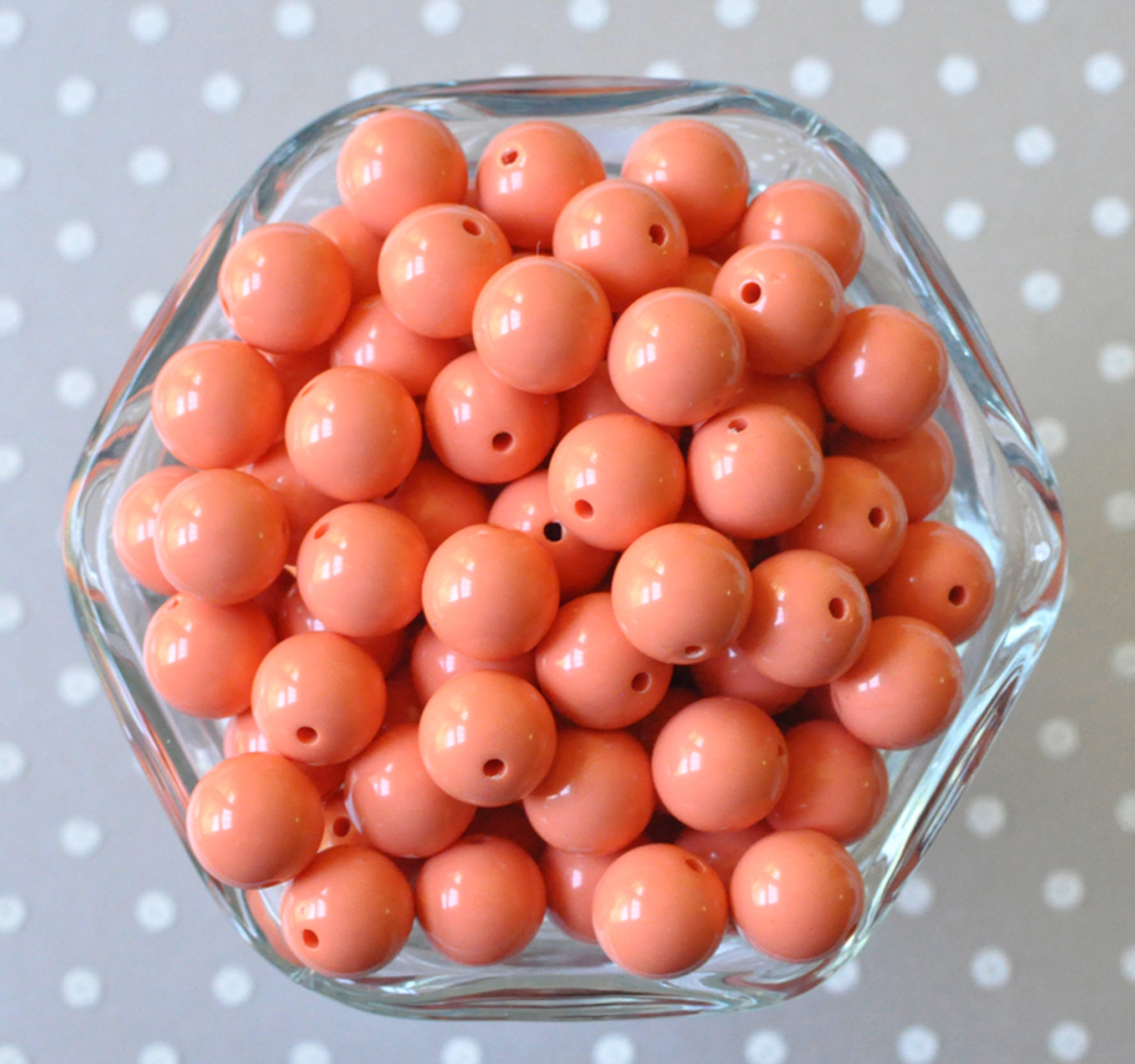 12mm Apricot solid bubblegum beads for chunky style jewelry
