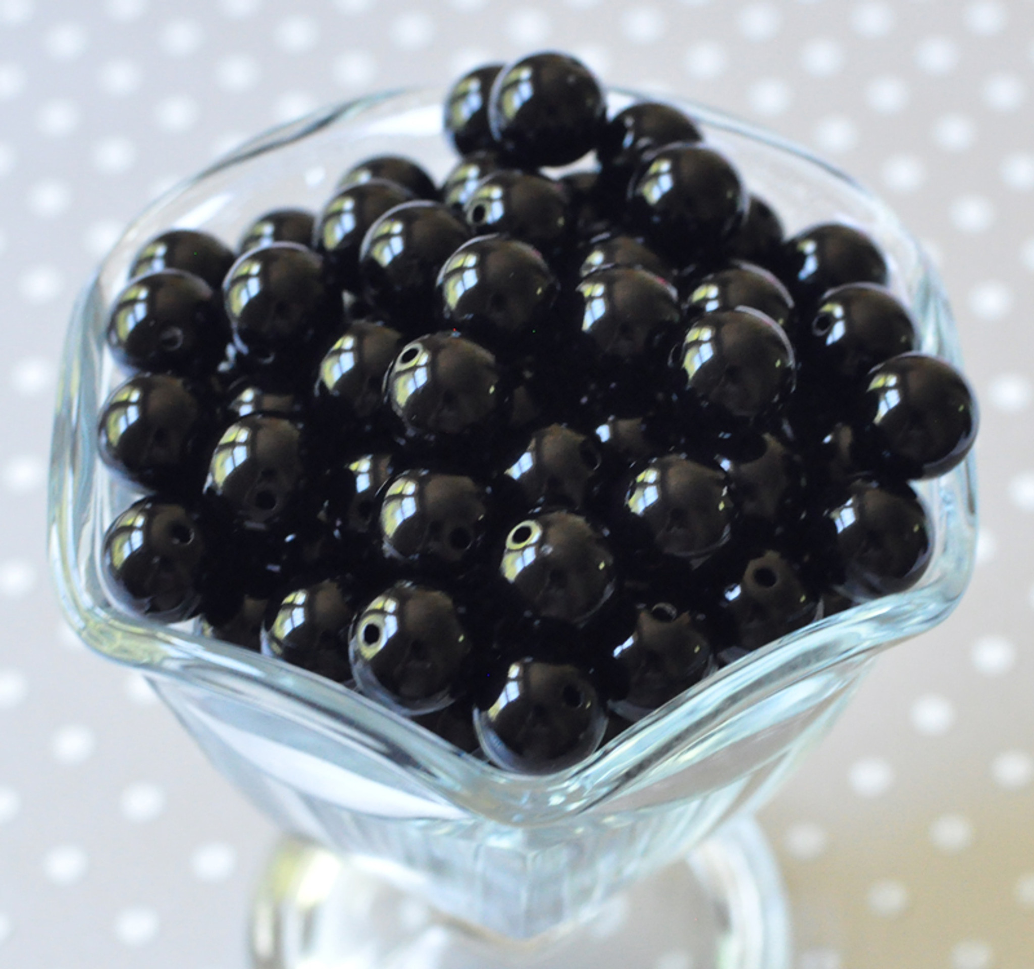 12mm Black solid bubblegum beads for chunky necklaces