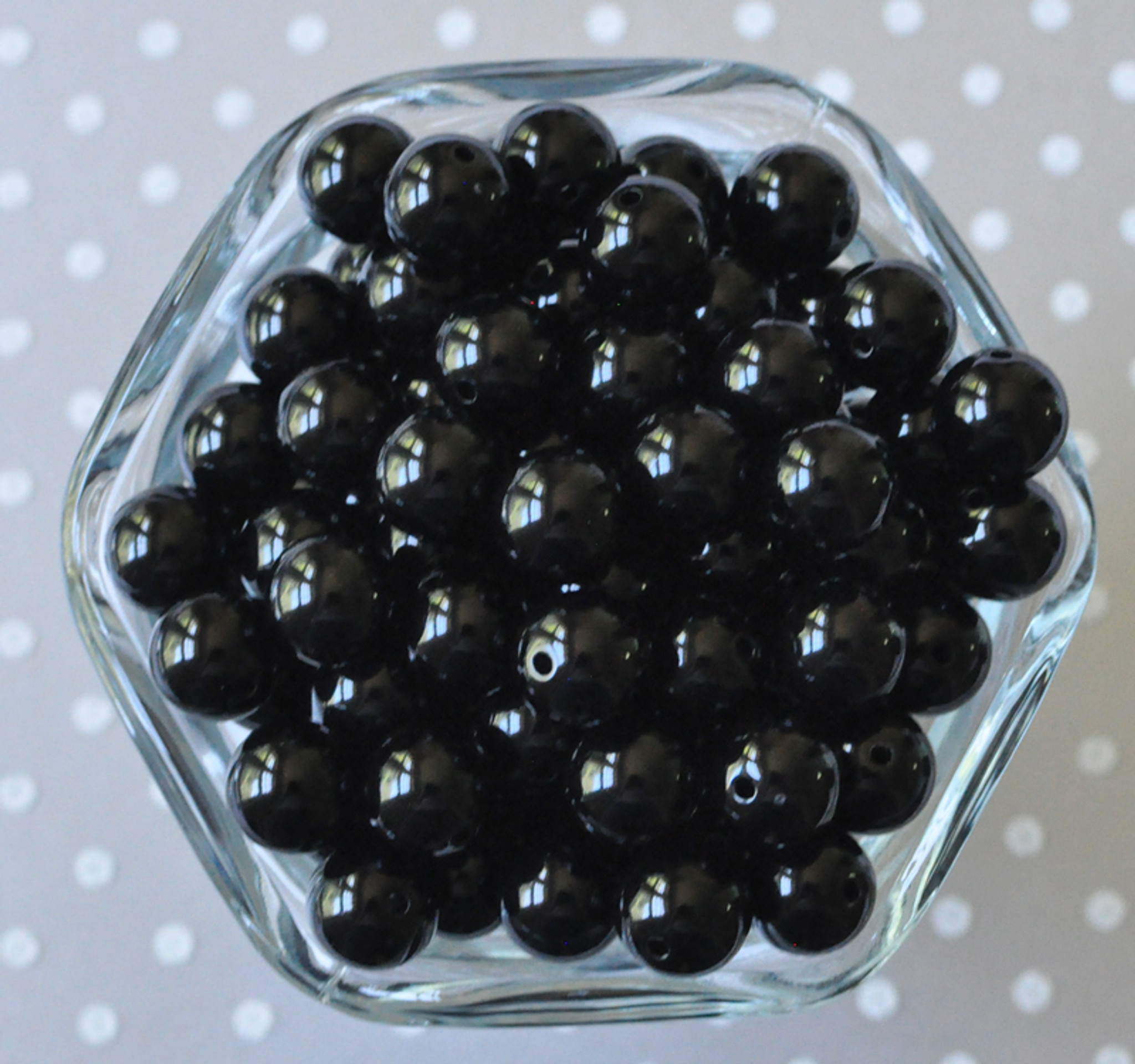 12mm Black solid small bubblegum beads
