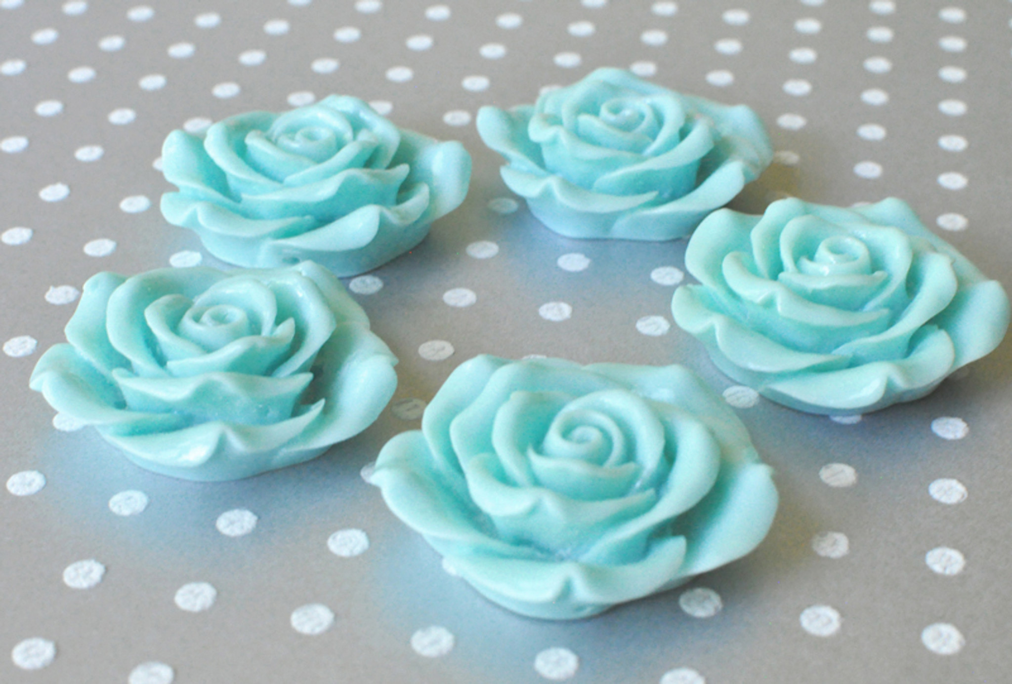 42mm Aqua resin flower beads for chunky necklaces