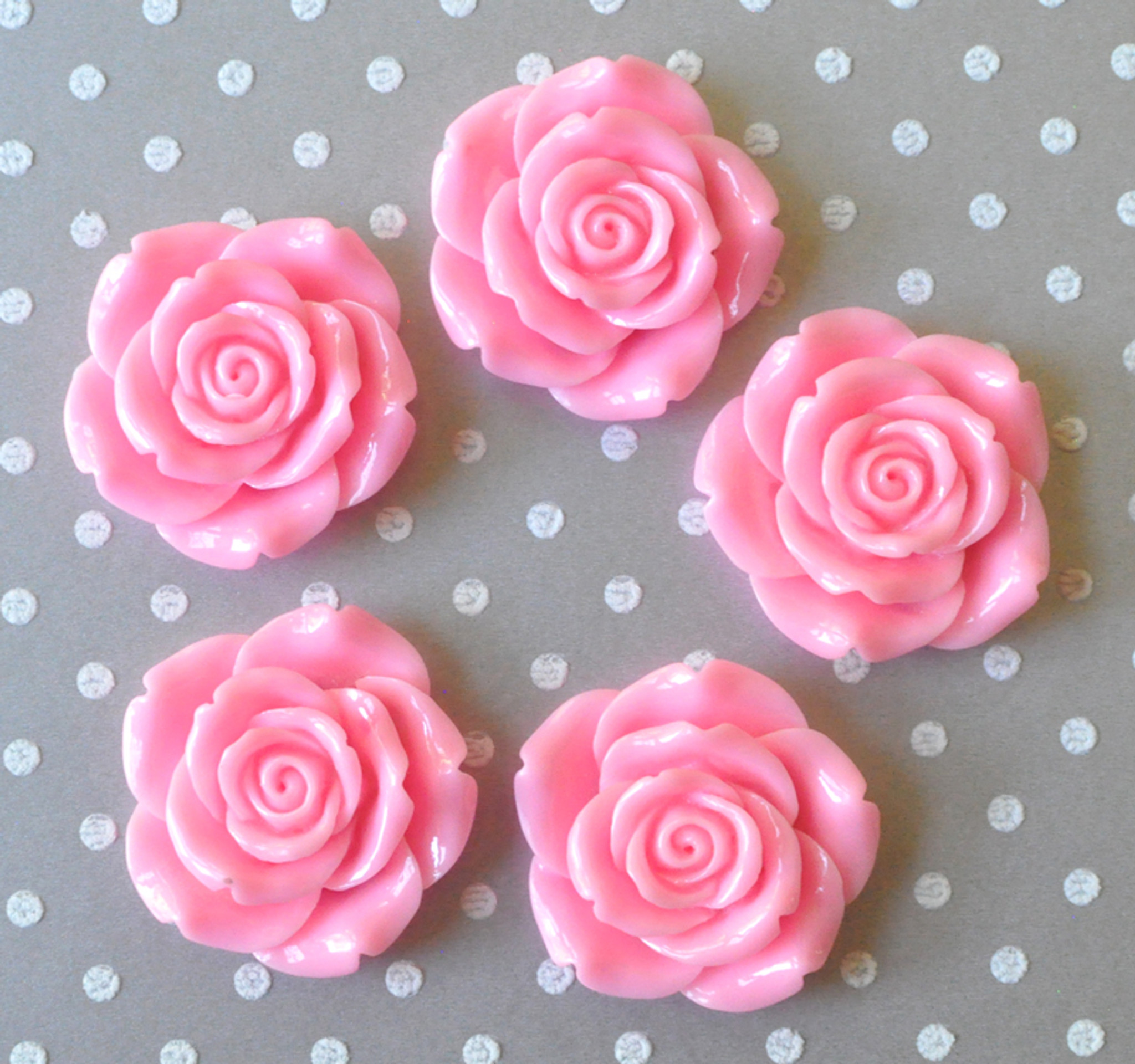 42mm Pink resin flower beads for chunky necklaces