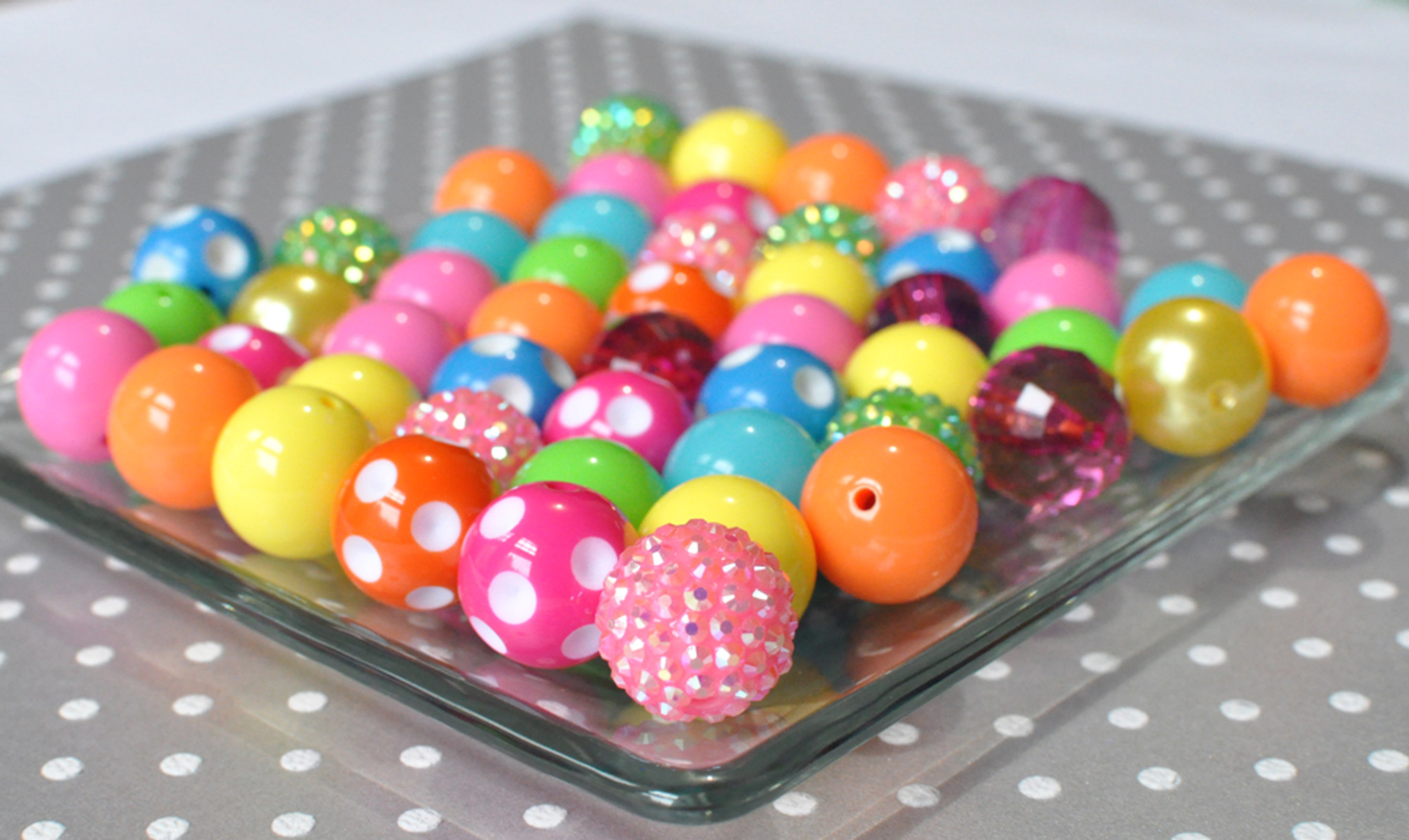 Brights rainbow 20mm bubblegum bead bulk set
