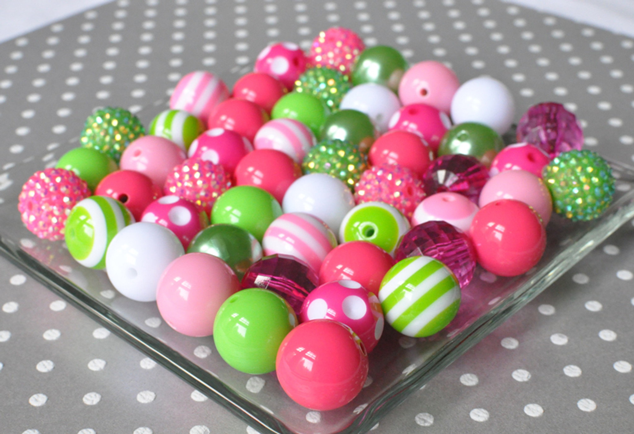 Hot pink and lime green bubblegum bead DIY jewelry kit