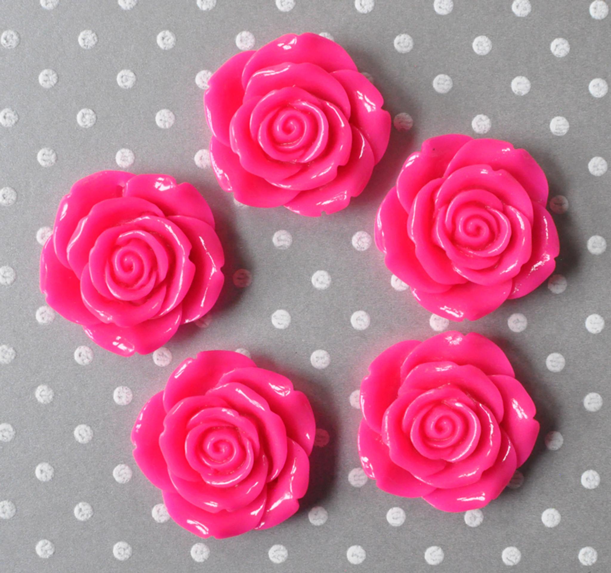 42mm Shocking pink resin flower beads wholesale
