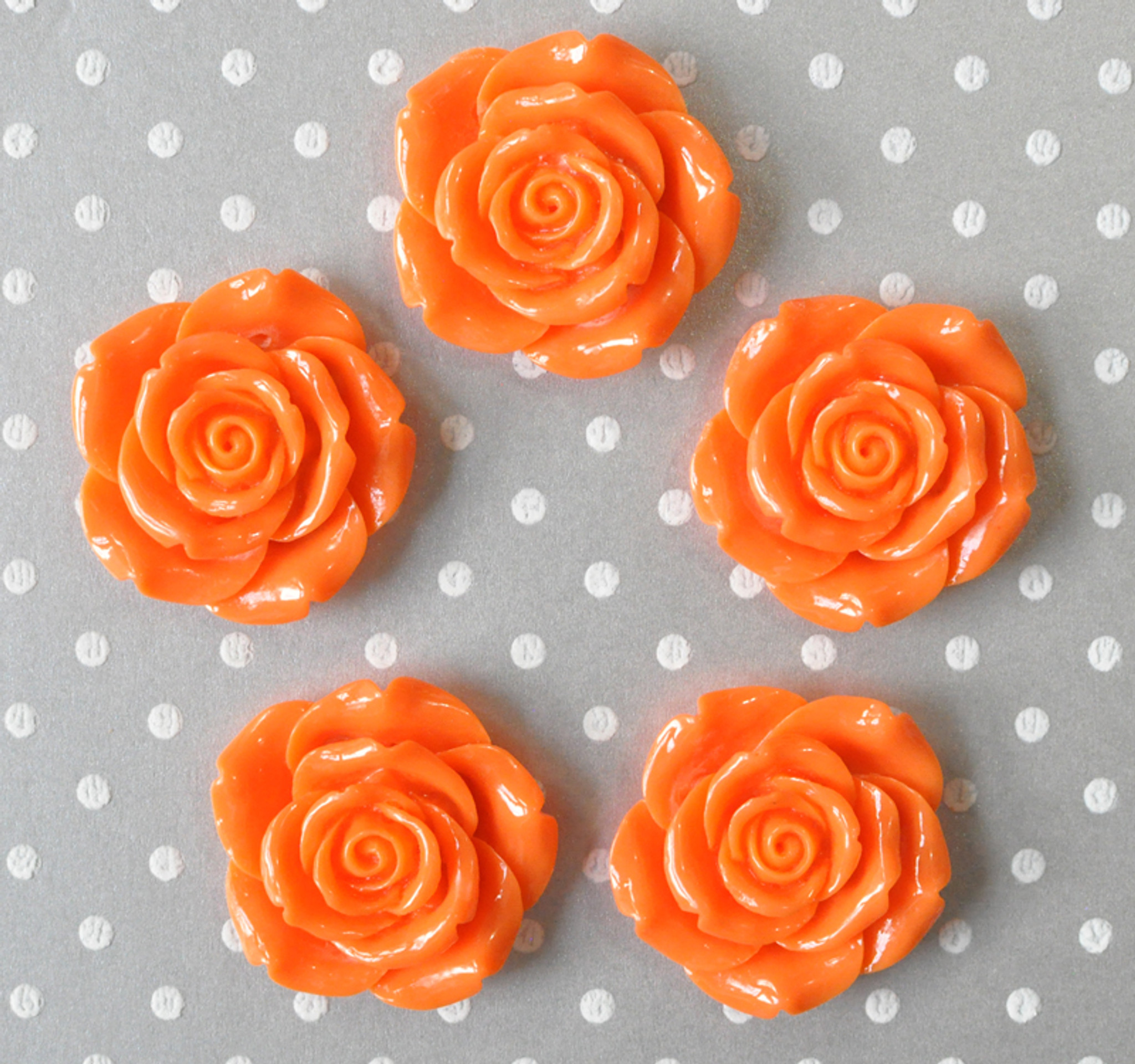 42mm Orange resin flower beads wholesale