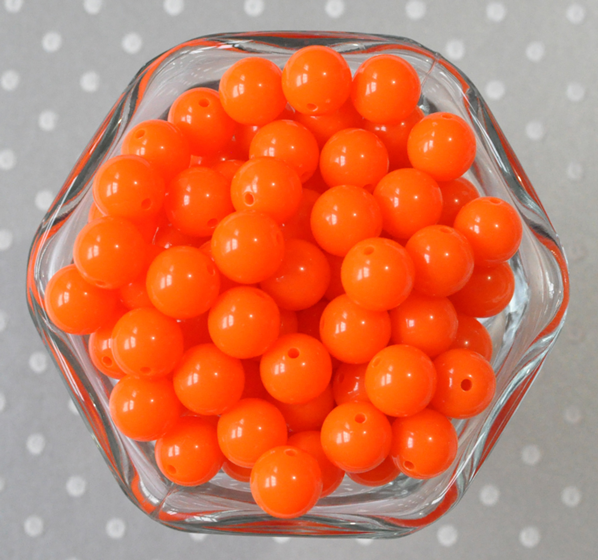 12mm Orange solid acrylic plastic chunky beads