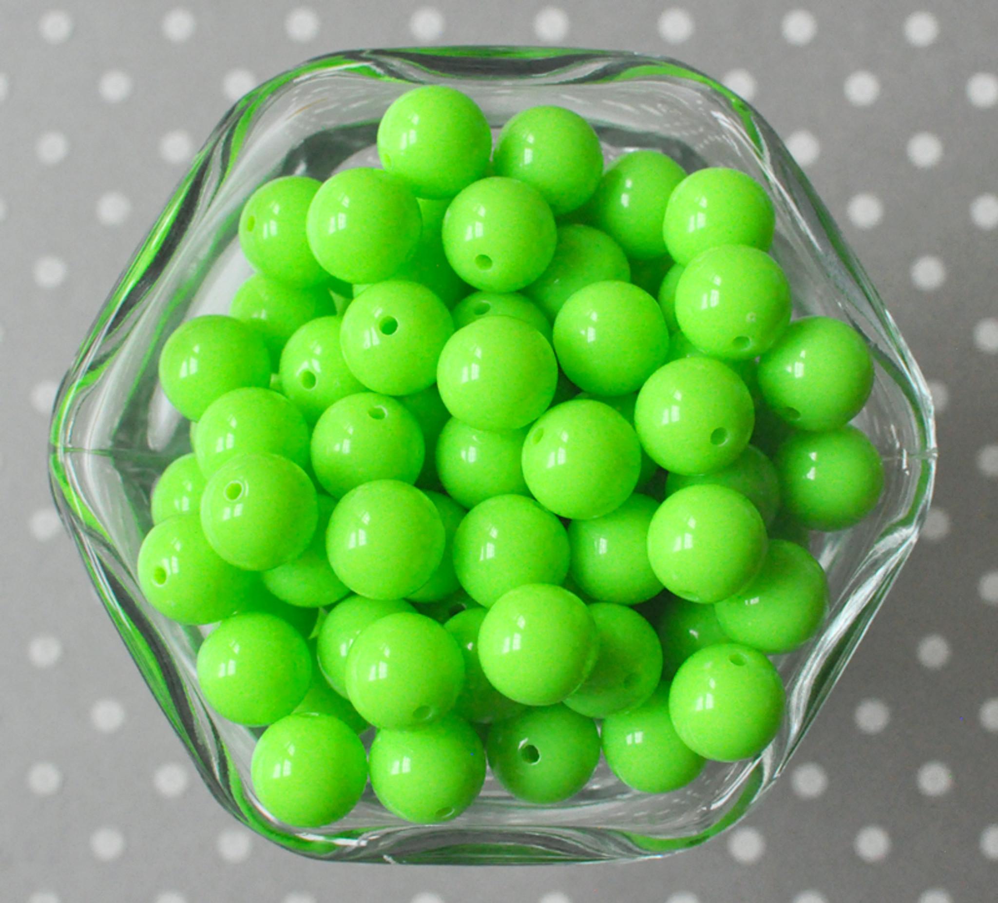 12mm Neon green solid small bubblegum beads in bulk