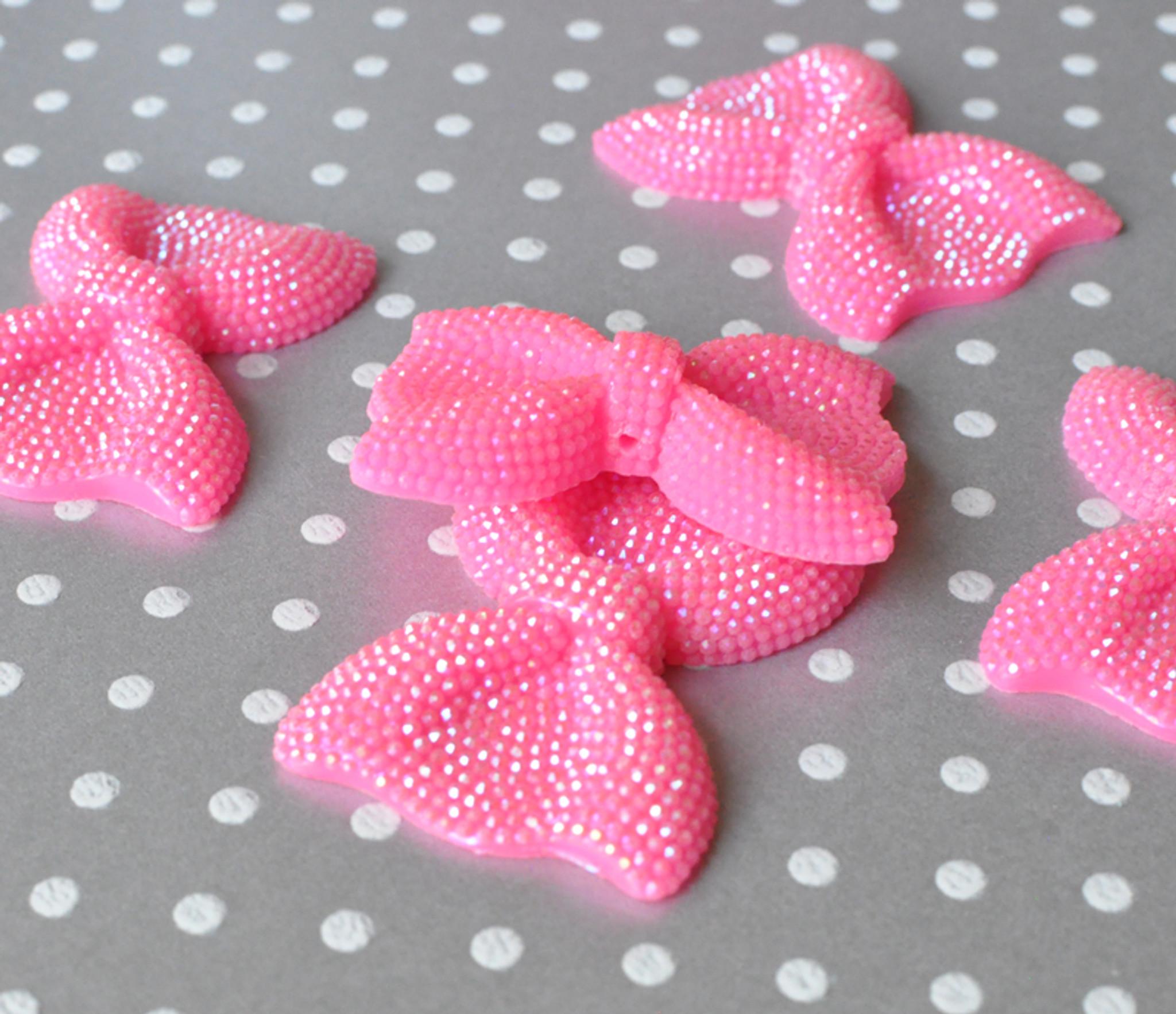 52mm Pink rhinestone large resin bow beads