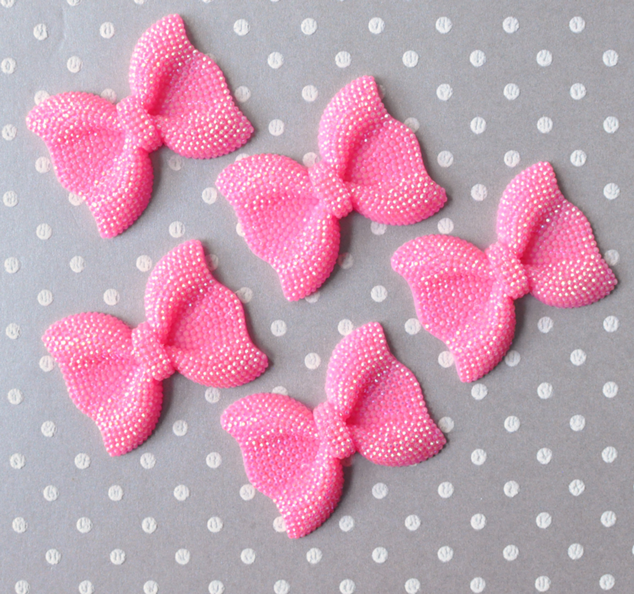 52mm Pink rhinestone bow beads
