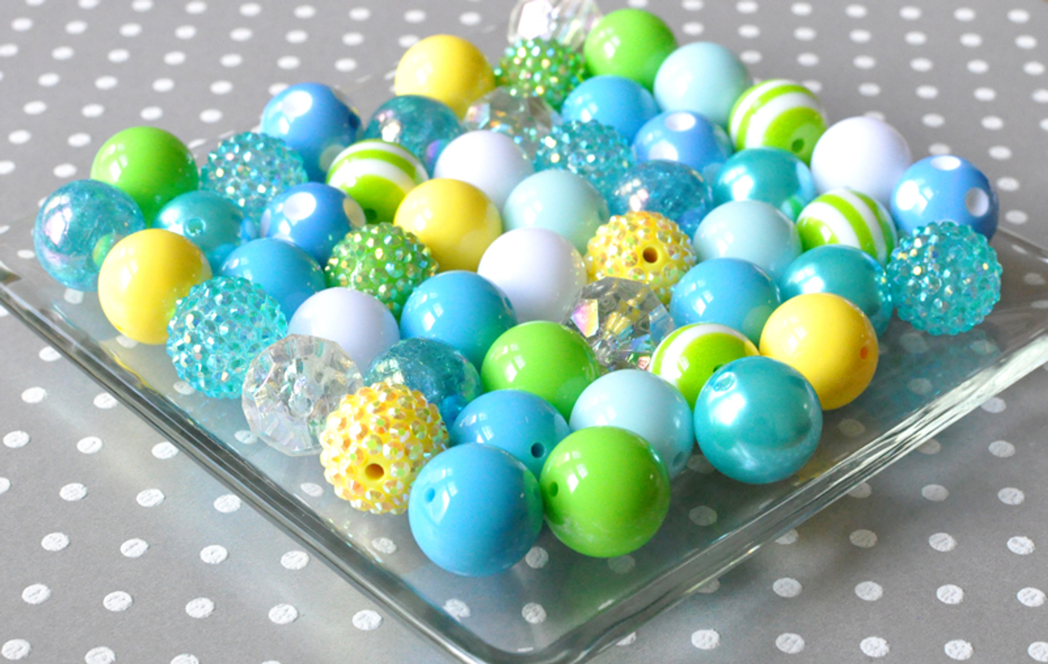 Water Park blue, yellow, and green bubble gum chunky bead kit