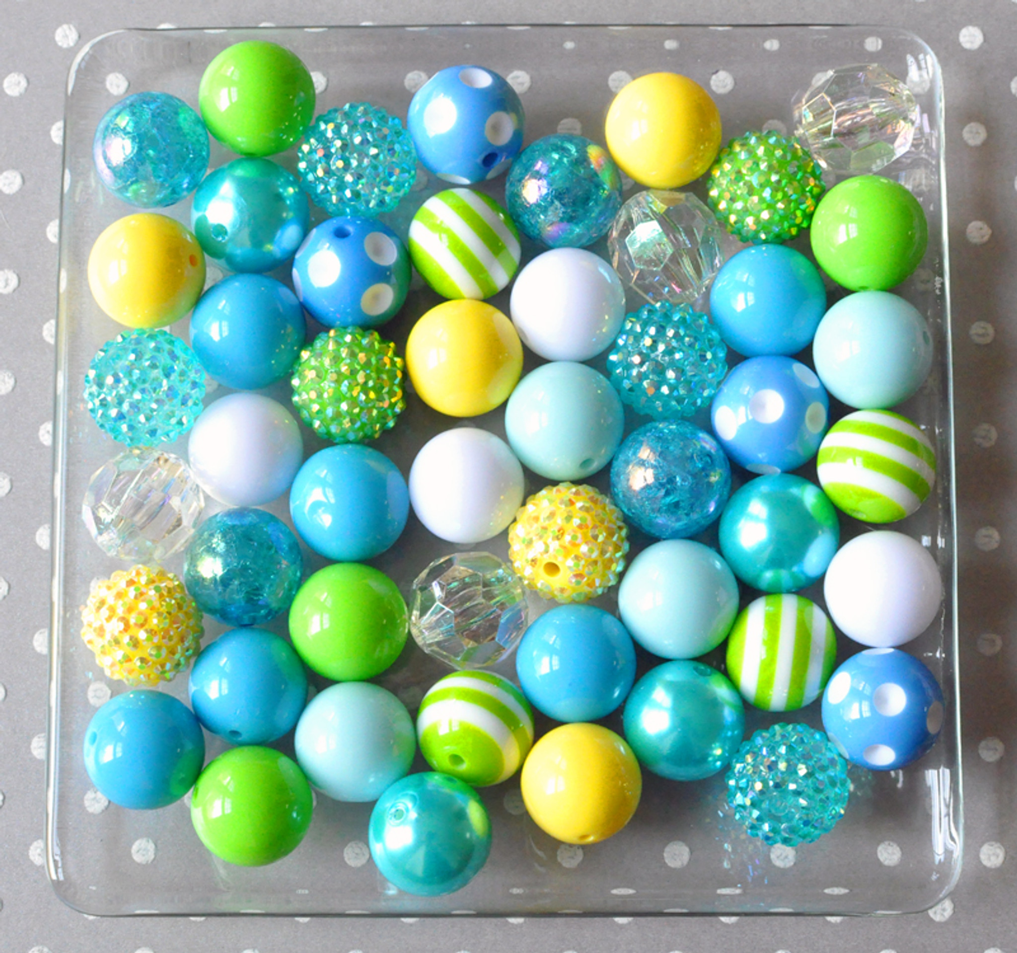 Water Park blue, yellow, and green bubblegum bead wholesale kit