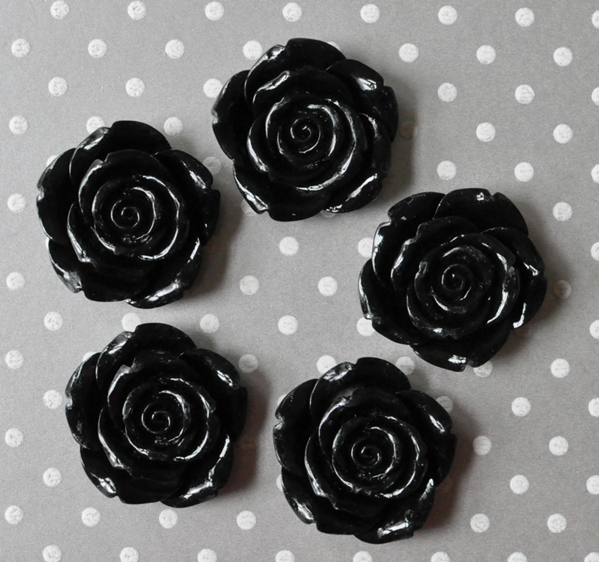 42mm Black resin flower beads