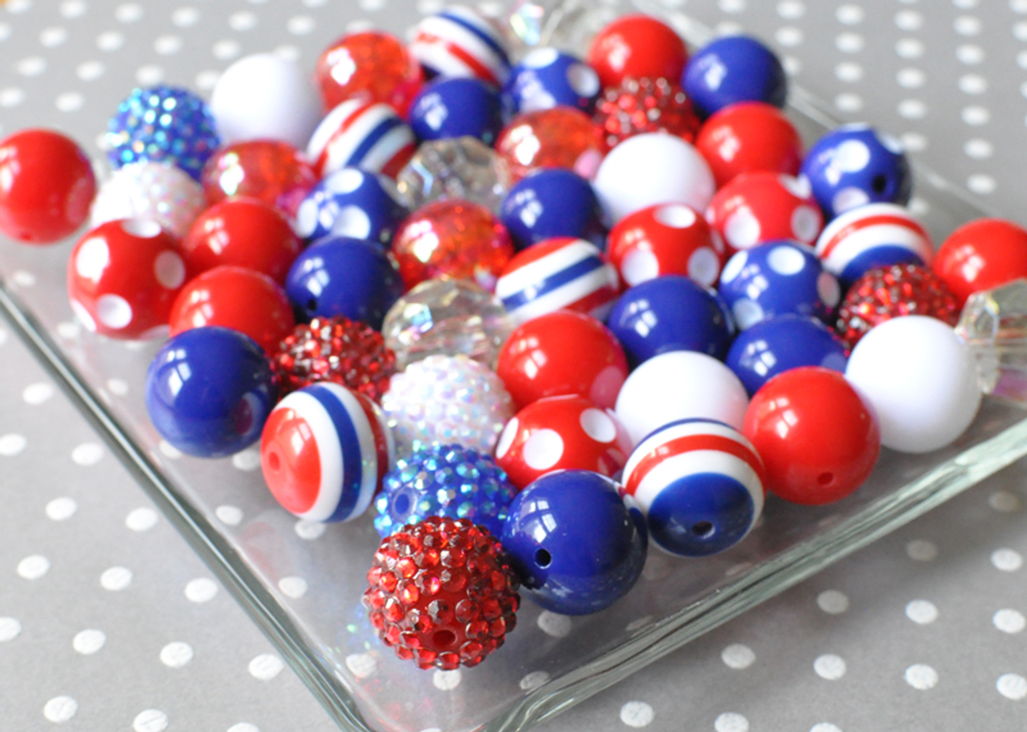 Patriotic red, white, and blue bubble gum chunky bead wholesale kit