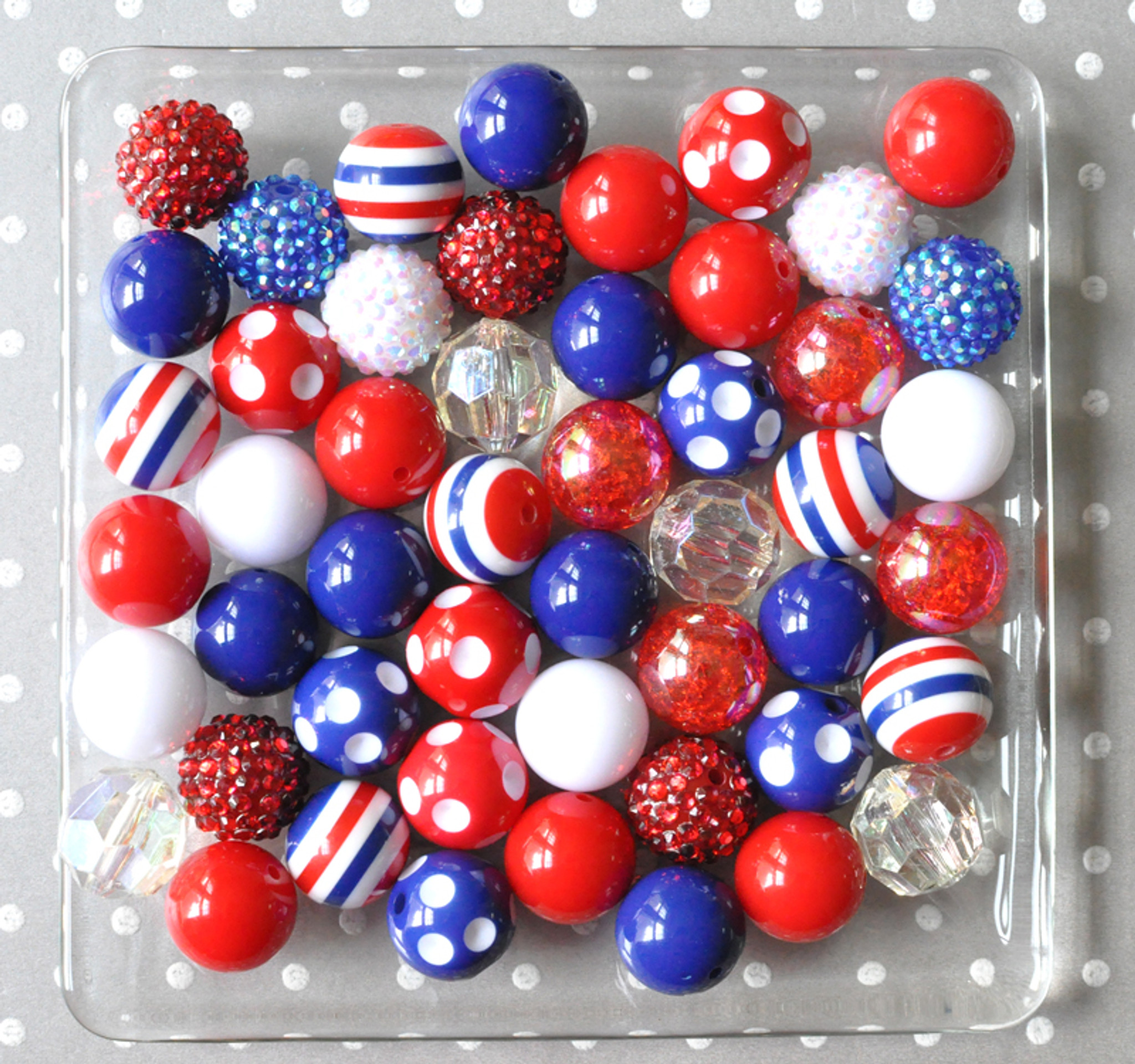 Patriotic red, white, and blue bubblegum bead wholesale kit
