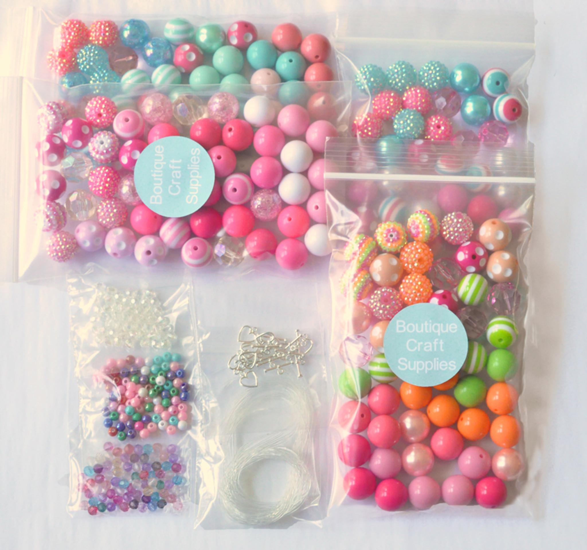 10 necklace bubblegum bead party kit for kids
