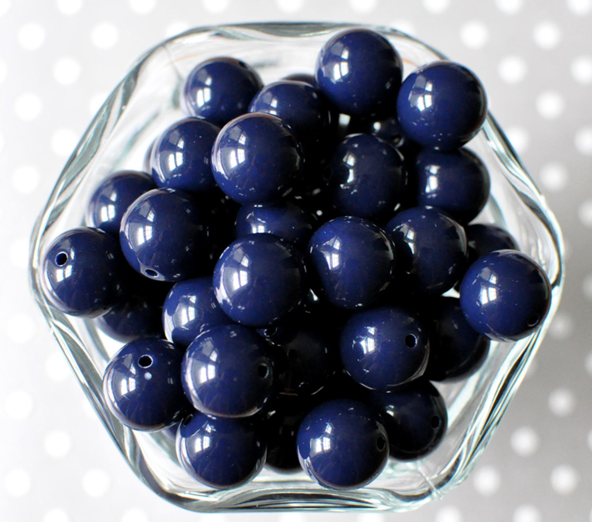 16mm Dark navy blue solid bubblegum beads