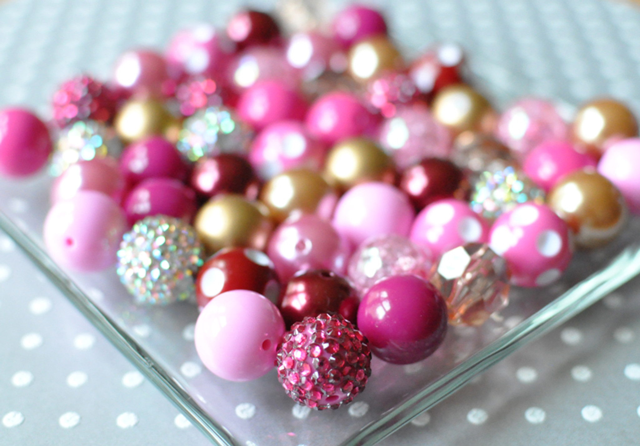 Cranberry dream fuchsia and gold bubblegum bead wholesale kit