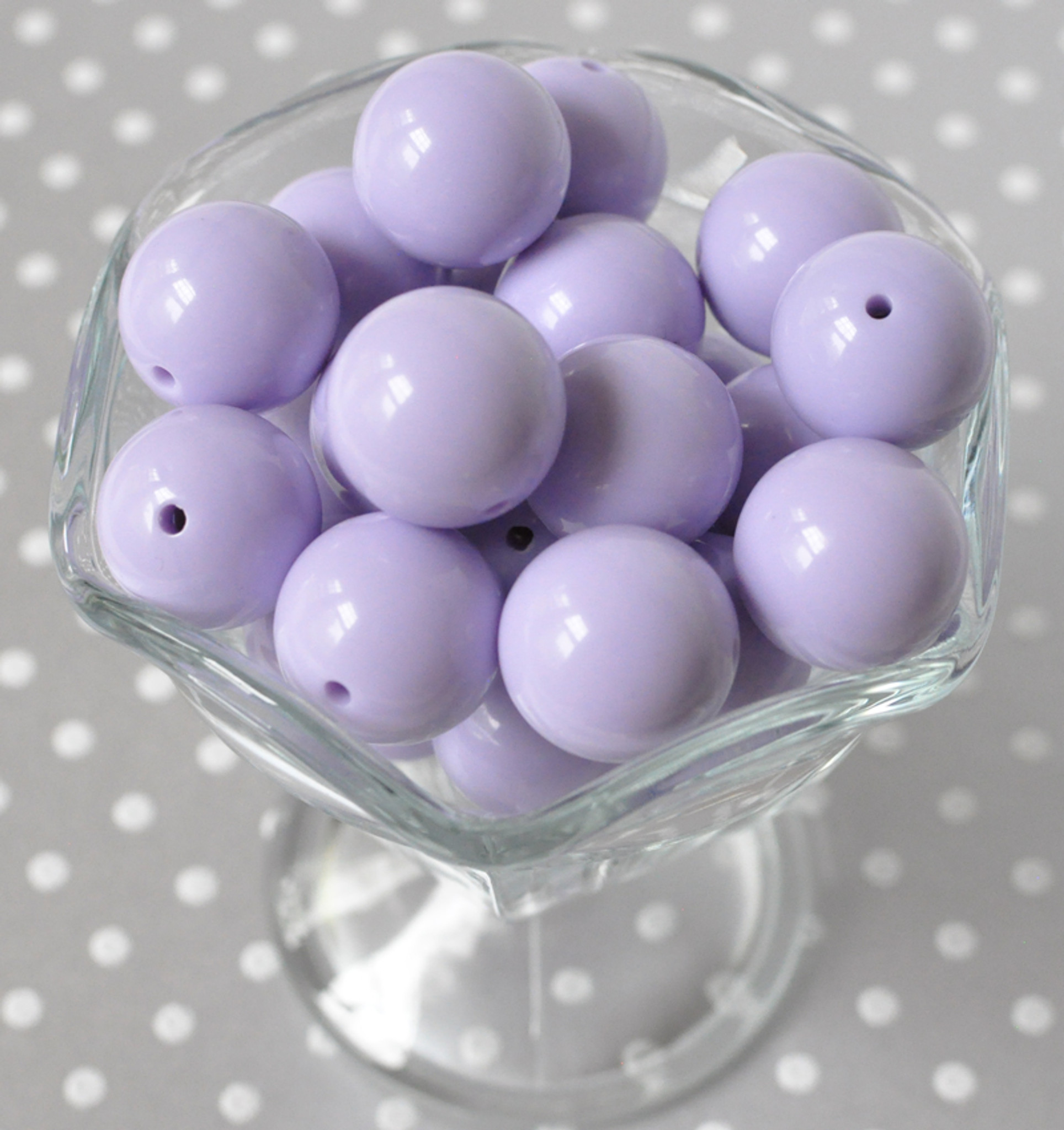 Lavender solid bubblegum beads for chunky necklaces