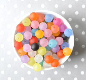 10mm Frosted multi-color acrylic beads