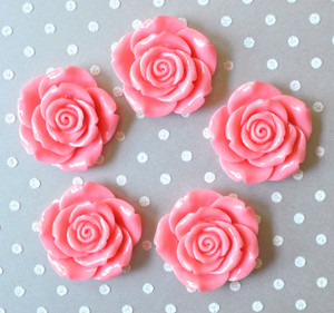 Coral rose resin flower beads