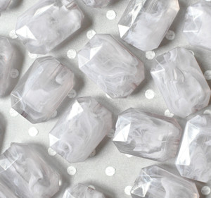 30mm Grey faceted rectangle nugget chunky statement beads