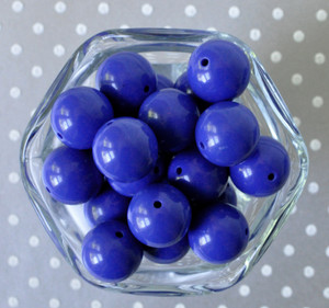 20mm Royal blue solid bubblegum beads for chunky necklaces