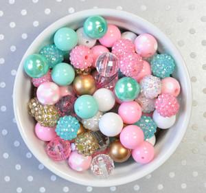 16mm Pink, Aqua, and Gold  bubblegum bead mix