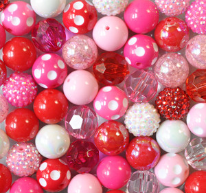 Valentine's Day Red pink and hot pink chunky bubble gum bead wholesale kit