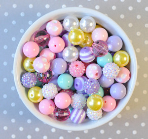 16mm Easter pastel bubblegum bead mix